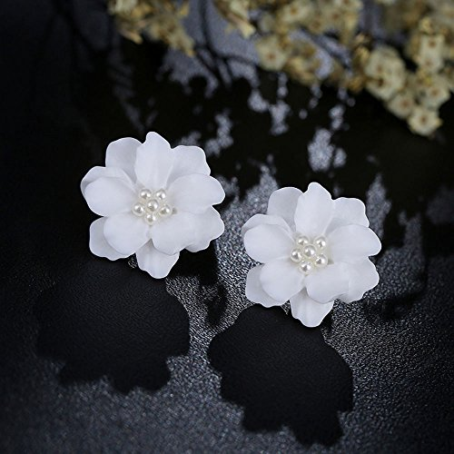 (wanmanee Simulated Pearl Big White Rose Flower Stud Earrings Inlay Beads Jewelry Gift Hot)