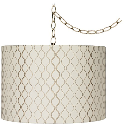 Embroidered Hourglass 16'W Brass Plug-In Swag Chandelier