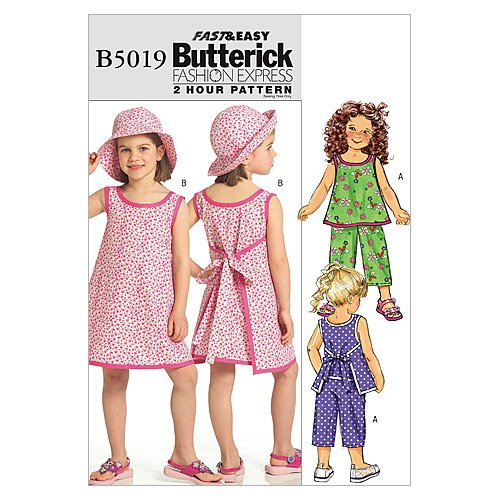 Butterick Patterns B5019 Children's/Girls Top, Dress, Pants and Hat, Size CDD - Pattern Wrap Top