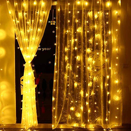 LED Curtain String Lights - Smartlife 8 Modes, 304 LED Fairy String Lights Indoor Wall Background Decorative Icicle Lights for Wedding/Window/Festival/Party/Garden/Home Decorations (Warm White)