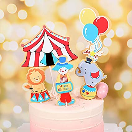 Prime Amazon Com Purearte Diy Happy Birthday Circus Carnival Theme Cake Funny Birthday Cards Online Inifodamsfinfo