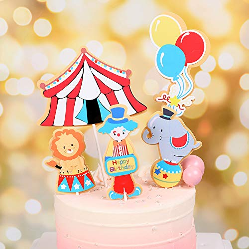 Carnival Theme Cake (PureArte DIY Happy Birthday Circus Carnival Theme Cake Decoration Set For Kids Party Decoration Clown Elephant Lion Balloon)