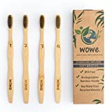 Wowe Organic Natural Bamboo Toothbrush - Charcoal Infused Individually Numbered Ergonomic, Soft BPA Free Bristles, Pack of 4