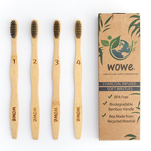 Bamboo Toothbrush - Charcoal Infused Individually Numbered, BPA Free Bristles, Pack of 4 (Natural Toothbrush)