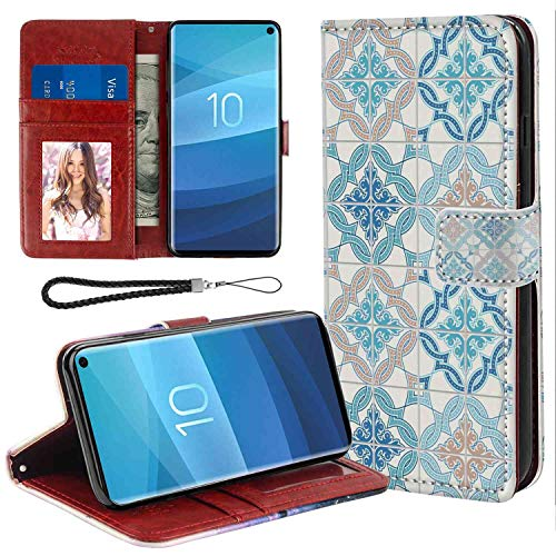 - Samsung Galaxy S10 Wallet Case, Quatrefoil Tangled Modern Lisbon Pattern Based on Traditional Oriental Arabesque Tiles Blue Tan White PU Leather Folio Case with Card Holder and ID Coin Slot