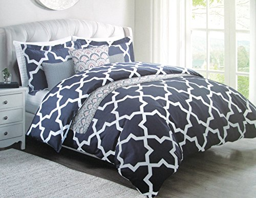 MAX STUDIO HOME Full/Queen Navy & White Persian Star 3 Piece