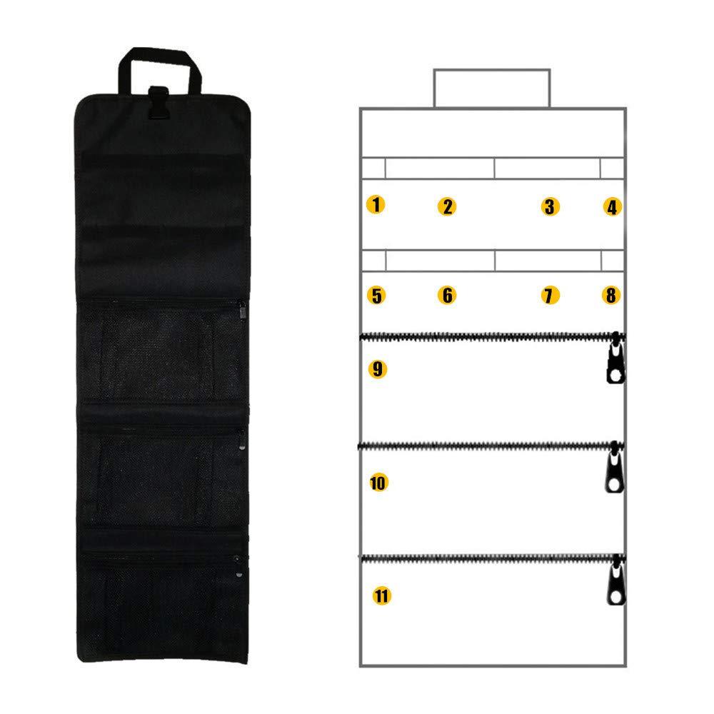 3 bolsillos de malla con cremallera,Tela oxford engrosada,para electricista,hogar,reparar coche Copechilla bolsa herramientas enrollable port/átil negro 83x26CM 8 banda fija