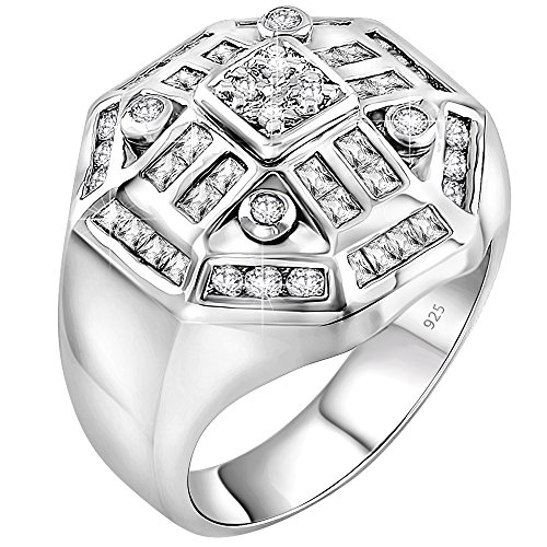 Men's Sterling Silver .925 Designer Octagon Ring Featuring 52 Round Square and Baguette Cubic Zirconia (CZ) Stones (11) ()