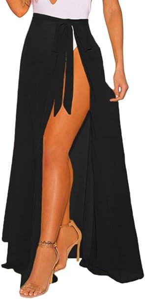 Amazon.com: XAKALAKA maxi falda con cinturón para mujer ...