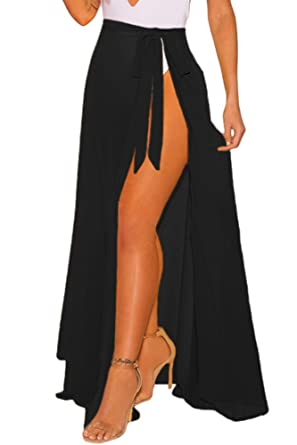 5f3f6f2457 XAKALAKA Women's Sheer Wrap High Waist Beach Sarong Cover up Maxi Skirt  Black