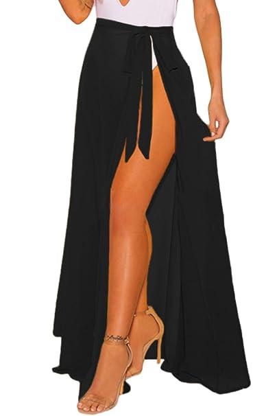 4b4587999d548 VINKKE Womens Chiffon Long Beach Sarong High Waist Cover up Maxi Skirt  Swimsuit Wrap Black