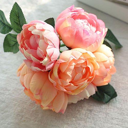 6 Cabeas de Flores Artificiais Penia Rodada de Noiva Buqu de Flores de Seda Para Decorao de Casamento de Natal Artificial Orqudea