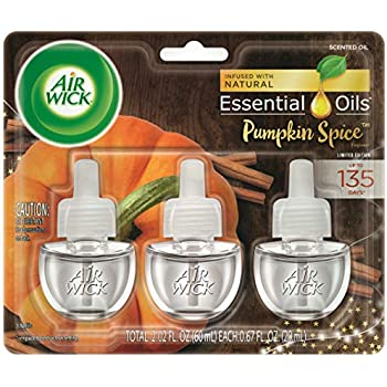 Air Wick Plug in Scented Oil 3 Refills, Pumpkin Spice, Fall scent, Fall spray, (3x0.67oz), Essential Oils, Air Freshener, Packaging May Vary