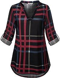 Womens 3/4 Roll Sleeve Shirt Notch Neck Loose Tops Plaid...