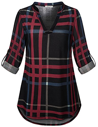 (SeSe Code Long Sleeve Tunics for Women Ladies Wear with Leggings Plaid 2XL Shirt Lightweight Travel Clothes Office Modesty Panel Minimalist Clothing Black and Red XXL)