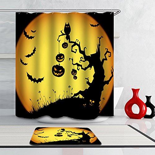 Warlock Costume Makeup - J-SO Halloween Element Pumpkin Lantern Bat Owl Polyester Fabric Waterproof Mildew Resistant Antibacterial Bathroom Shower Curtain (60