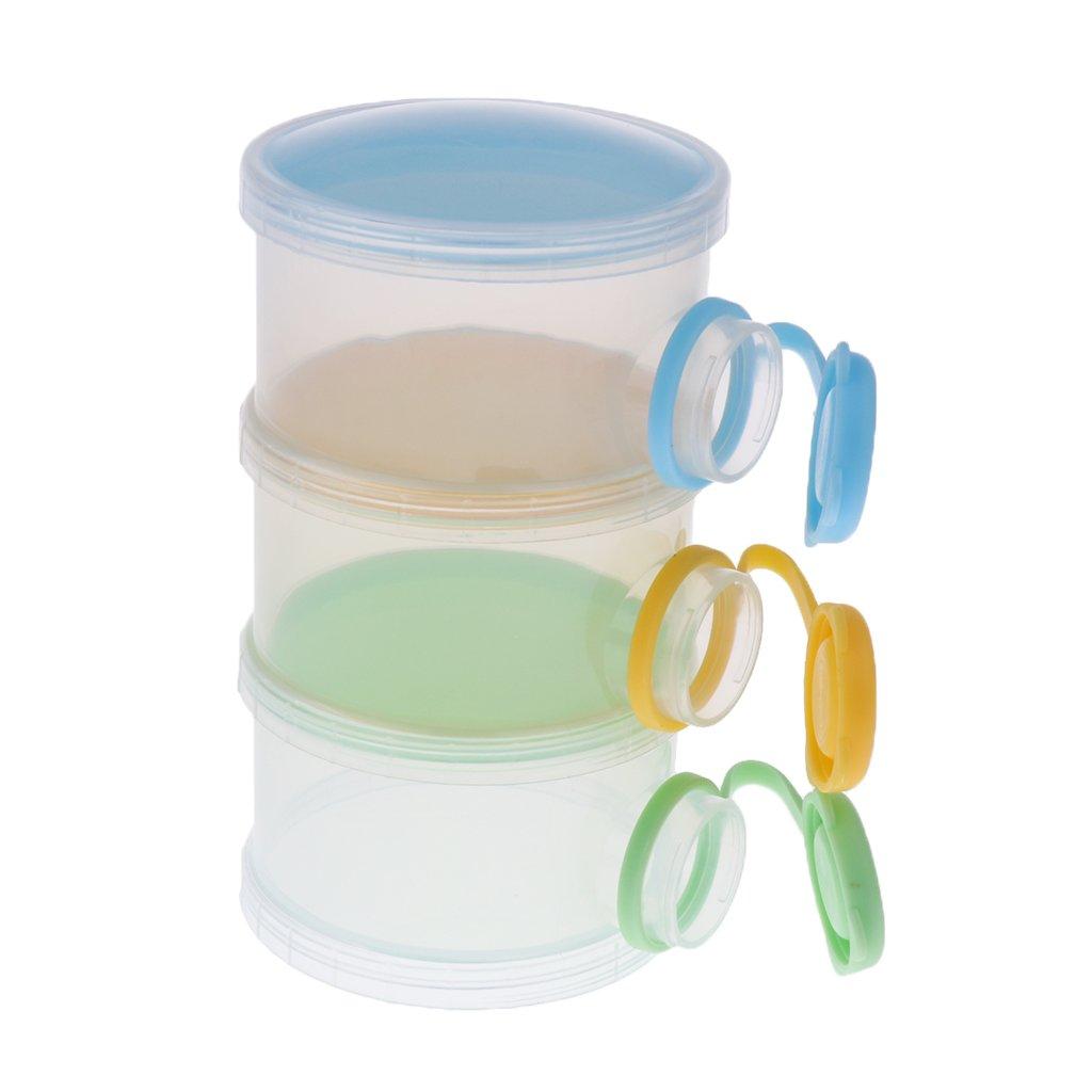 Dovewill BPA Free Stackable Portable 3 Compartments Milk Powder Dispenser & Snack Container - Color 1, as described