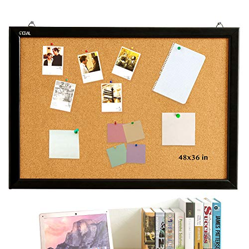 Cork Board Bulletin Board 48 x 36 Inch, 100% Wood Frame Brazil Imported, Environmental Natural Cork Surface, Mounting Hardware, Push Pins Included
