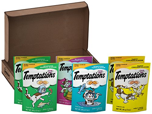 TEMPTATIONS Classic Treats for Cats Feline Favorites 3 Ounces (6-Pouch Variety Pack); Holiday Cat Gift Pack for the Feline in Your Family