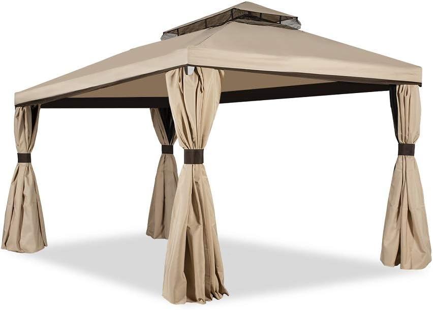 Garden Point Pabellón de Jardín Valencia con mosquitero | 300 x 600 cm | Hidrófugo jardín para Cubrir Muebles de jardín y Jacuzzi | Montaje fácil | con Cortinas | Crema: Amazon.es: Jardín