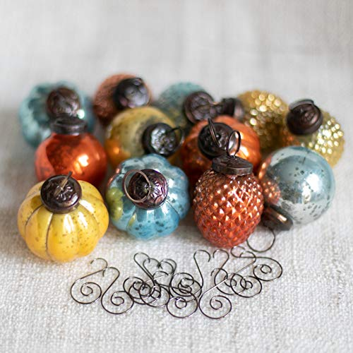 12 Holiday Mercury Glass Vintage Antique Style Christmas Ornaments with Matching Swirl Hooks