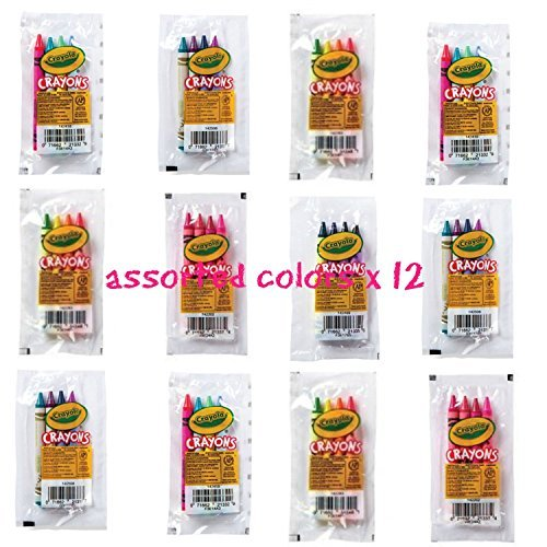 Party Set Crayon Favor (crayola 4 pack full size crayons party favors Bundle of 12 -4 packs Mixed colors - every 4 pack might be different includes glitter crayons neon colors Pastel colors and many more)