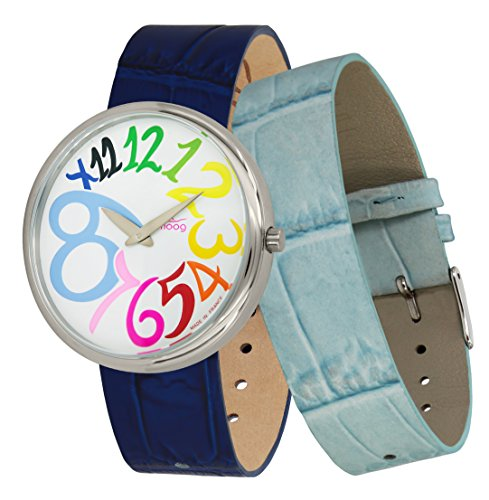 Moog Paris Ronde Art-Deco Women's Watch with White Dial, Blue Strap in Genuine Leather - M41672-G11 ()
