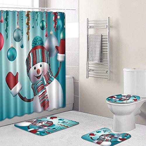 Hamkaw Merry Christmas Shower Curtain Sets, 4 Pcs Xmas Shower Curtain/Non-Slip Bathroom Rugs/Lid Toilet Cover/Bath Mat, Funny Santa Claus Christmas Tree Elk Snowman Carpet Bathroom Decor (Christmas Set Snowman)