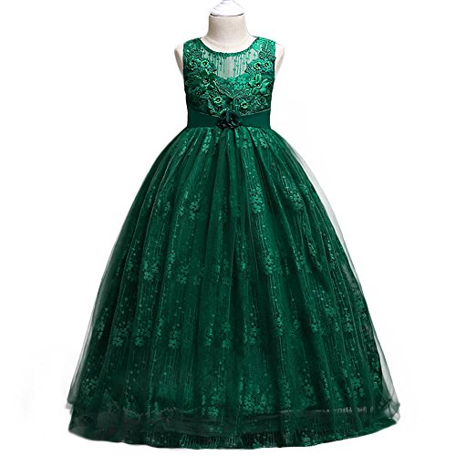 HUANQIUE Girl Floor Length Pageant Bridesmaid Dress Tulle Flower Girl Ball Gown Green 5-6 T -