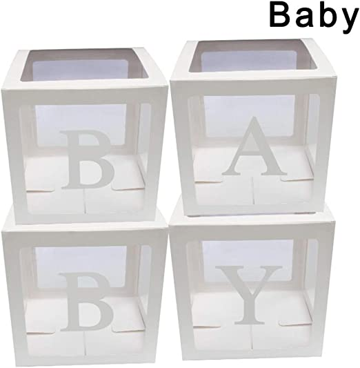 4Pcs//Set Square Transparent Balloon Boxes Baby Christening Birthday Party Decor