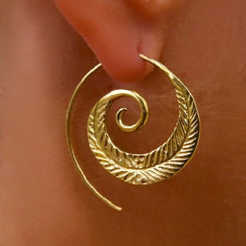 Brass Earrings - Brass Spiral Earrings - Gypsy Earrings - Tribal Earrings - Ethnic Earrings - Indian Earrings - Statement Earrings (EB15)