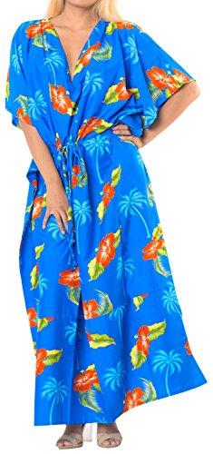 bagno vestito da caftano LA k783 beachwear donne nere largo costume caftani LEELA coprire Blu qAA0tI