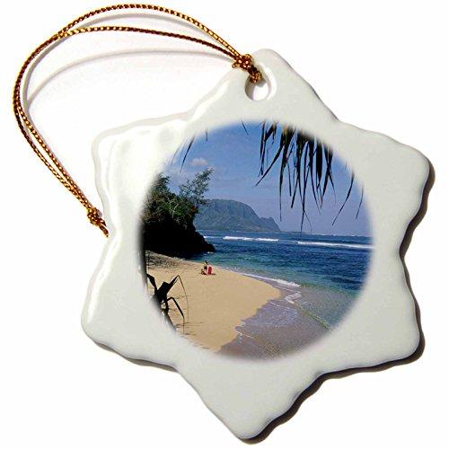 3dRose orn_89549_1 Hideaway Beach, Hanalei Bay, Kauai, Hawaii US12 DPB0127 Douglas Peebles Snowflake Porcelain Ornament, 3-Inch by 3dRose