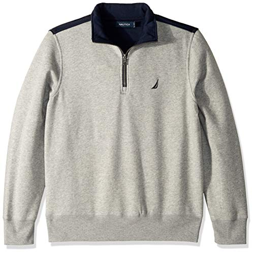 Nautica Men's 1/4 Zip Pieced Fleece Sweatshirt, Grey Heather Large