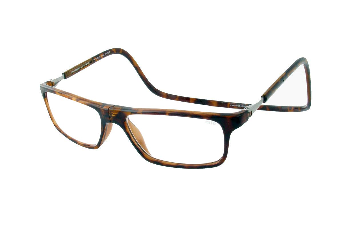 Clic Magnetic Executive Reading Glasses in Tortoise with Blue Light Filter + A/R Lenses +4.00