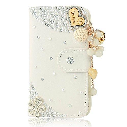 EVTECH (TM) pour iPhone 6/iPhone 6s 4.7 pouces Pendentif Coeur 3D Handmade Bling Crystal aimez briller Glitter strass diamant Fleurs PU cuir de type Portefeuille avec Titulaire fermoir magnétique de c