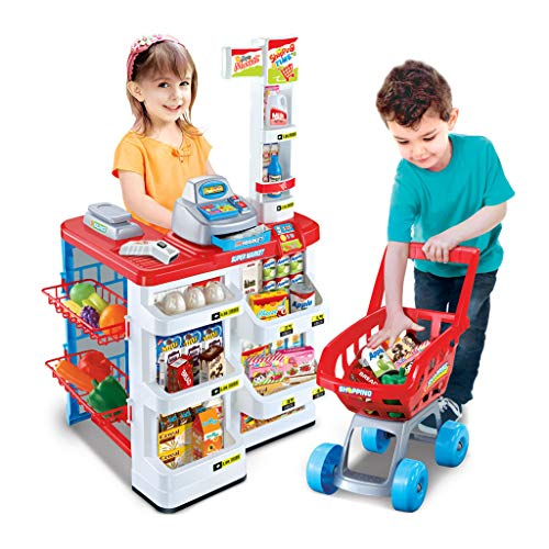 et Shopping Grocer Register Cashier Simulation Furniture Checkout Pretend Play House Toys ()