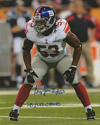 Autographed Greg Jones Photo - 8x10 Giants SB XLVI Champs - Autographed NFL Photos