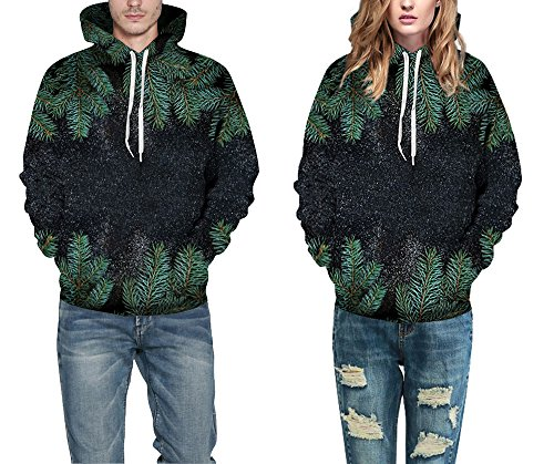 3xl Ugly With Unisex Santa Sweatshirt Hoodie Pullover S Big Hooded Leezeshaw Pocket Christmas Xmas 3d Print Leaf AZ4Xw