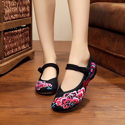 WXT Zapatos bordados, lenguado de tendón, estilo étnico, zapatos de tela femenina, moda, cómodo, zapatos de baile Black