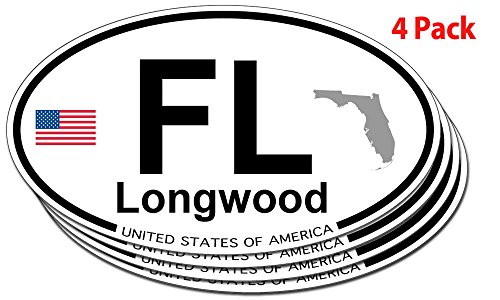 Longwood, Florida Oval Sticker - 4 pack