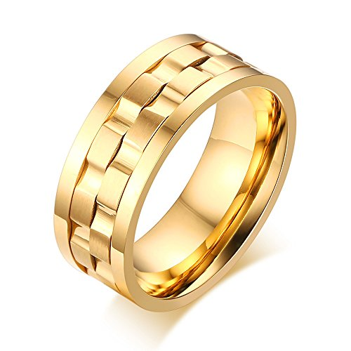 YIKOXI Men's Gold Plated Stainless Steel Rotatable Stylish Brick Double Gear Shaped Spinner Rings,Size 8