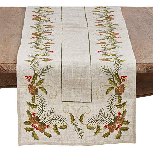 SARO LIFESTYLE 1851.N1668B Joyeuses Fêtes Collection Embroidered Pinecone And Holly Table Runner, 16