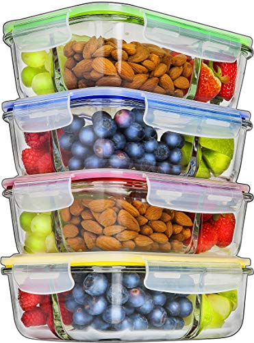 Glass Meal Prep Containers 3 Compartment - Food Containers Meal Prep Food Prep Containers Lunch Containers Glass Containers with lids Freezer Containers Bento Box Containers Bento lunch Box - Fridge Bento Box