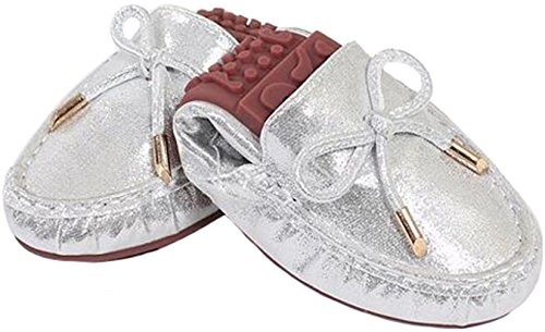 PPXID Pregnant Womens Bowknot Slip-On Loafers Foldable Ballet Shoes Silver c7HyTmB