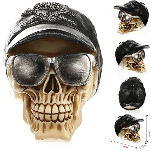(DAJIADS Figurine Figurines Statue Statues Statuette Statues Africa Home Decor Skull for Decoration Human Resin Skull Skeleton Abstract Sculptures Art Carving Statue with Sunglasses)