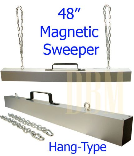 48'' Hang Hanger Magnetic Sweeper Roadmag Pick Up Tool Hanging Chains Magnet Bar by Generic
