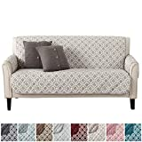 Modern Printed Reversible Stain Resistant Furniture Protector with Geometric Design. Perfect Cover for Pets and Kids. Adjustable Elastic Straps Included. Liliana Collection (Sofa, Silver Cloud)