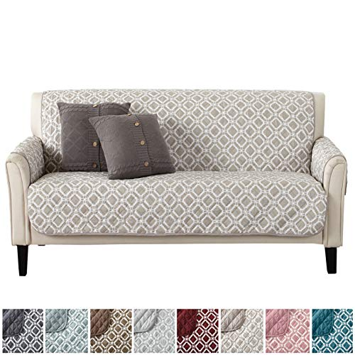 Modern Printed Reversible Stain Resistant Furniture Protector with Geometric Design. Perfect Cover for Pets and Kids. Adjustable Elastic Straps Included. Liliana Collection (Sofa, Silver Cloud) - Reversible Printed