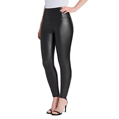 b80800a40c51 Samuel Plus Size Faux Leather Leggings Womens High Waisted Leather Pants  Stretchable Tummy Control Black Leggings at Amazon Women s Clothing store